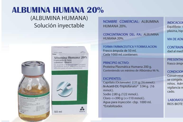 Comprar Albumina humana 20 %