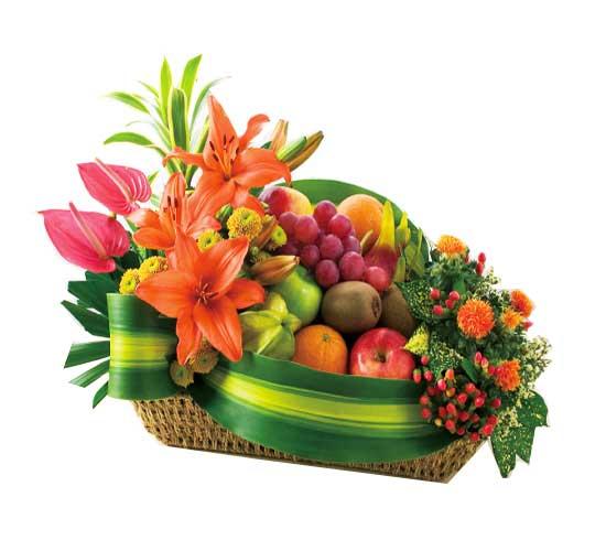 Comprar Arreglo flores con frutas