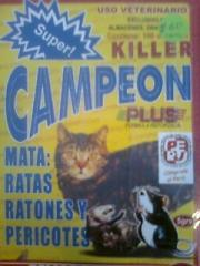 Raticida super  campeon killer plus caja 100 sobres $ 50 uss