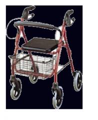 Andador 4 ruedas con asiento y canastilla para