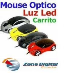 Mouse Óptico 3d Tipo Carrito Ferrari Con Luces