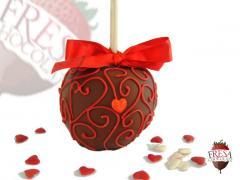 Manzana bañada en chocolate Amor