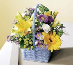 """Flores en canasta """"Qué"""