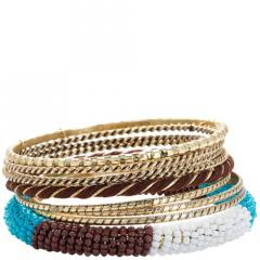 Women's Bead and Leather Bangle Set